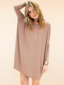 Nude Minis Long Sleeve Bat Sleeve Casual Dress