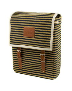 Mediterranean inspired backpack  100% Natural cotton dyed blue and yellow stripes canvas. Reinforced natural leather interiors. Metallic buckles.