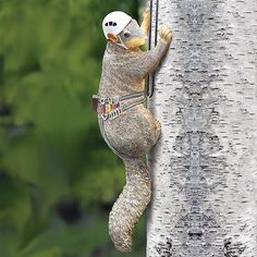Outdoor Hand painted Resin Squirrel Tree Climber - Fun Garden Yard Lawn Ornament