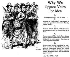 "Yay for our foremothers (is that a word?) Alice Duer Miller! This baller piece of old-school Americana comes via @iRevolt. My favorite: ""Because if men should adopt peaceable methods women will no longer look up to them."" Zing."
