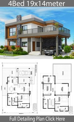 Home design plan with 4 bedrooms - Home Design with Plan Home design plan with 4 bedrooms.House description:One Car Parking and gardenGround Level: Living room, 1 Bedroom with bathroom, 4 Bedroom House Designs, Bungalow House Design, House Front Design, Small House Design, Cool House Designs, Design Bedroom, Best Modern House Design, 4 Bedroom House Plans, House Design Photos