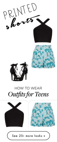 """Untitled #15"" by coleybugwilson on Polyvore featuring BCBGMAXAZRIA, New Look, Schutz and printedshorts"