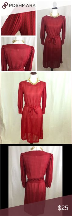 """Red sheer vintage beauty 🚨 Beautiful vintage sheer dress. Super sexy and sophisticated 😻 Measurements: Bust 34"""" Waist stretched 32"""". Complete with shoulder pads and beautiful details throughout 😍. Best fits small/medium. Dresses"""