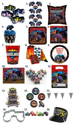 This crushing Monster Truck birthday party is a slamming good time! In this post you'll find ideas for invites, decor, games, food, favors and more. Monster Trucks, Monster Truck Birthday, Monster Party, Monster Jam, Boys 8th Birthday, Cars Birthday Parties, Birthday Ideas, Hot Wheels Party, Animal Party