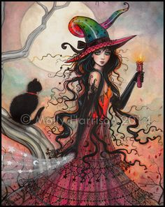 October Flame Witch Original Watercolor Painting Halloween Art  Molly Harrison