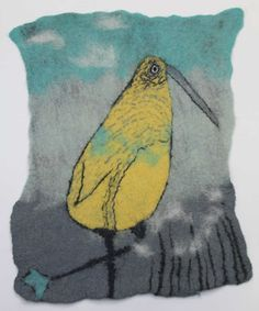 yellow bird wet felted