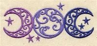 Shades of purple, triple moon embroidery...because I am a pagan and I need this symbol in my life.