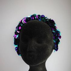 Bright and colourful large purple and turquoise sequins hairband. Special Occasion Outfits, Black Velvet, Hair Band, Hand Sewing, Sequins, Bright, Turquoise, Purple, Awesome
