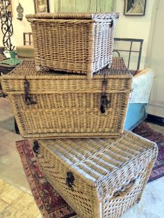 Looking for storage ideas? Love using antique wicker baskets, trunks, and suitcases for their texture, warmth, and storage space. Stack them, or leave open to show off all your great pillows and throws, fill with seasonal decor you're not using, place them as end tables or at the end of a bed. And think out of the box...