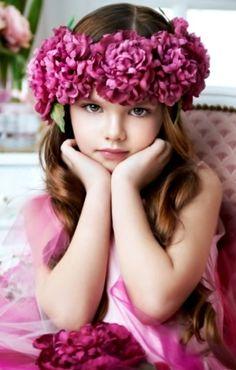 magenta floral head wreath