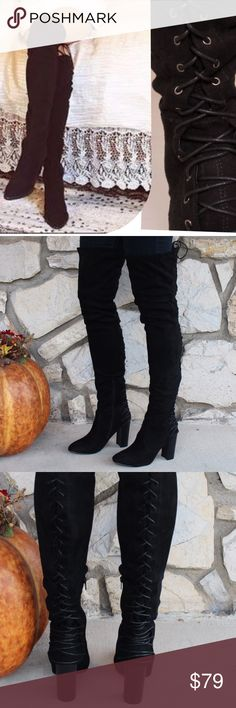 Tight Thigh High Stretch OTK Suede Boots ⛄️JUST ARRIVED!⛄️Upgrade your simple boots for a subtle and flirty new look!⛄️ Brand New in Box ⛄️All vegan materials ⛄️ 3.25 inch heel ⛄️ Boot is 23 inches tall/26.25 inches tall including the heel ⛄️ 🔴Limited Quantities 🔴 Feel free to ask questions! Shoes Over the Knee Boots