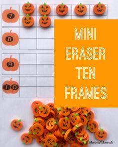 Pumpkin Miniature Eraser Counting Cards for Fall and Autumn Units - Preschool Pumpkin Images, Community Helpers, Ten Frames, School Themes, Tot School, Autumn, Fall, Counting, Card Stock