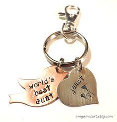 World's Best Handstamped Keychain Mom Mother Aunt by AmyDavisArt