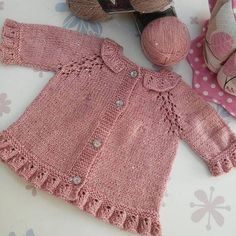 Baby Cardigan Knitting Pattern Free, Crochet Baby Cardigan, Knit Baby Dress, Baby Knitting Patterns, Baby Girl Sweaters, Knitted Baby Clothes, Knitting For Charity, Knitting For Kids, Baby Coat