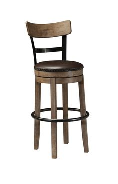 "Ashley d542-130 29"" seating height rustic brown grey swivel bar stool free shipping"