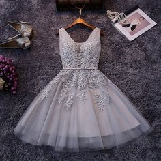 Grey Homecoming Dress ,Short Homecoming Dresses,Lace Homecoming Gowns,Sweet