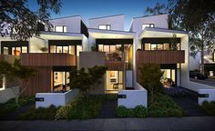 A new report by Bankwest has revealed that traditional houses are taking a back burner to Melbourne's love of medium to high density developments. Modern Townhouse, Townhouse Designs, Townhouse Apartments, Residential Architecture, Modern Architecture, Style At Home, Duplex Design, Villa, Duplex House