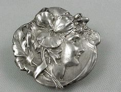 Antique ART NOUVEAU Sterling Silver UNGER BROS Brothers Brooch