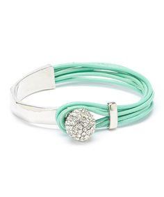 Look at this #zulilyfind! Mint & Crystal Leather Bracelet #zulilyfinds