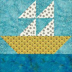 "Four Patch Quilt Block Patterns: 12"" Sailboats Quilt Block Pattern"