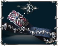 SKULL BELT ★ $169.90 ★ Handmade. unique, exclusive skull belt ★ A popular men's Skull Belt with very well casted Skulls in different sizes and with many details. Also those little black stars studds and the stitched leather cracks make this belt so special and unique. The fascinating buckle with its leatherinlay is handmade with more than 20 different metal parts. Over 90 skull are riveted on the leather strap. Together each belt is covered with a total of more than 160 metal parts ★