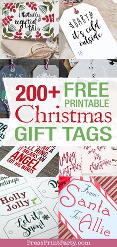 200+ FREE Christmas Gift Tags Printables. Lots of Rustic and vintage for that homemade look. Great ideas and templates for gift giving, save money and DIY these free printable Christmas tags. Great to print for presents or favors. by Press Print Party! #christmas #freeprintable