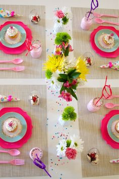 love the dishes she paired together.... bright neon modern with old world dainty tea plates