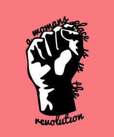 'A Woman's Place is in the Revolution' paper cut print feminist art feminist poster feminist art print