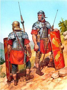Roman soldiers, I Century CE.La máquina perfecta de su época, observar los contrapesos de las lanzaspilum.Escudos para la formación de tortuga y el gladium o espada corta para el cuerpo a cuerpo lateral.