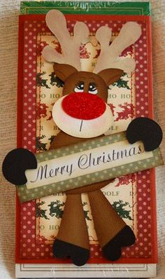 Candy bar sleeve The Paper Piecing Beehive: Animal Christmas Tag, Handmade Christmas, Christmas Crafts, Christmas Layout, Xmas Cards, Holiday Cards, Natal Diy, Punch Art Cards, Patch Aplique