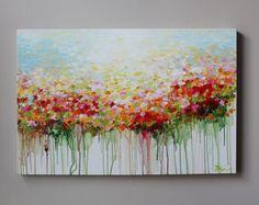 Resumen de pintura de la flor arte abstracto acrílico por artbyoak1