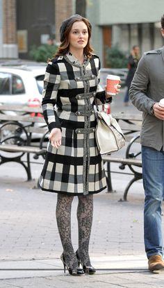 "Blair wears a Bensoni Fall 2010 coat, Anthropologie tights, Giuseppe Zanotti heels, Eugenia Kim beret and Valentino Bag in 4x11 ""The Townie"""