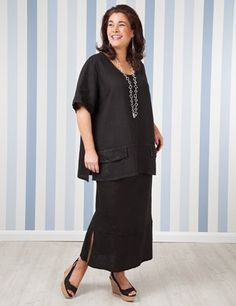 Plus size Troon Black Linen Top And Sandford Linen Skirt