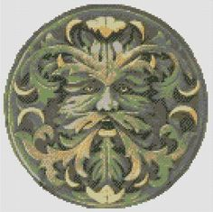Green Man Cross Stitch PDF Chart Pattern Celtic Pagan Wicca Wiccan Spiritual…