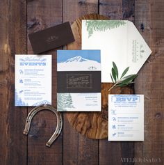 Rustic ranch inspired wedding invitation with a wood texture embossed bellyband  by Atelier Isabey