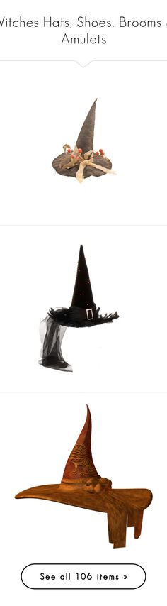 """""""Witches Hats, Shoes, Brooms & Amulets"""" by hippiechick63 ❤ liked on Polyvore featuring halloween, hats, harry potter, harry potter halloween costumes, harry potter costume, salem witch costume, witch costume, witch halloween costumes, home and home decor"""