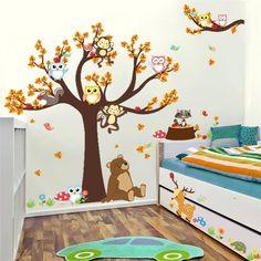 Sticker de perete cu desen cu un copac din padure si animale, bufnita, maimuta, urs, cerb, autocolant pentru camera copiilor, decor pentru casa