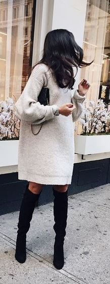 This sweater dress looks awesome as a thigh high boots outfit