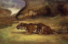 Crouching Tiger is one of over two hundred watercolors that Barye painted,  mainly as preparatory sketches for his bronzes. Like his statues these  works are...