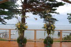 Ceremony tent flowers