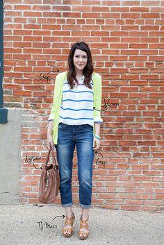 striped blouse + neon cardigan + boyfriend jeans + platform strappy sandals [kendi everyday]