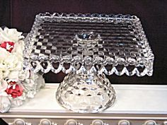 Mismatched crystal cake platters and servers for dessert bar - Vintage Fostoria American Crystal Footed Cake Plate & Lead crystal footed cake plate.