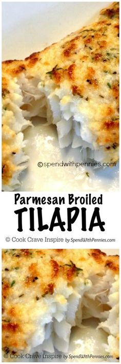 Parmesan Crusted Tilapia Recipe (Broiled in 10 min!) - Spend with Pennies Parmesan Broiled Tilapia Recipe. This is a great and quick recipe it's so light and flaky and the best part it's on the table in 10 minutes start to finish! Quick Recipes, New Recipes, Cooking Recipes, Healthy Recipes, Orange Recipes, Kitchen Recipes, Recipies, Cooking Tips, Cooking Kale