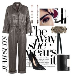 """""""Jumpsuit Love"""" by monicalyn ❤ liked on Polyvore featuring Maybelline, Julie Fagerholt, ALDO, Dolce&Gabbana, Rebecca Minkoff and jumpsuits"""