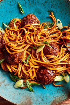 """NYT Cooking: This kalbi meatball recipe, adapted from the cookbook """"Koreatown,"""" is easy and quick enough to consider for midweek dinner. It offers the sweetly peppered, slightly funky flavors typical of many Korean dishes, and gives new personality to everyday spaghetti and meatballs. My favorite utensil for making ground meat mixtures, by the way, is an old-fashioned potato masher. The book suggests wrapping the meatballs in lettuce, but I tossed them with noodles in a sauce that exploited…"""