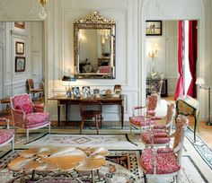 Bienvenue chez Monsieur DIOR... The historic drawing room of N°30, Av. Montaigne in PARIS restored under the leadership of New York interior designer Peter Marino, once again evokes the taste and the intimate world of one of the most famous French Couturiers Ever.