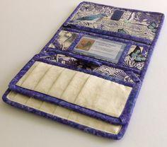 Women's Wallet, Vera Bradley Style Quilted Women's Checkbook Wallet, Violet Birds & Butterflies Checkbook Wallet, Woman's Credit Card Wallet by EverestRanchCreation on Etsy
