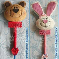 Bear and Rabbit. Foam Crafts, Diy And Crafts, Crafts For Kids, Arts And Crafts, Post It Holder, Pen Toppers, Clay Magnets, Jumping Clay, Lalaloopsy
