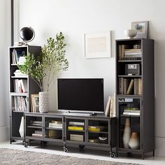 Industrial Metal Media Set - Large Console + 2 Towers   West Elm