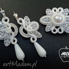 komplet ślubny sutasz tivie kolczyki spinka bezfilcowy , ślubny, komplet, Ribbon Jewelry, Fabric Jewelry, Beaded Jewelry, Gold Bridal Earrings, Wedding Jewelry, Soutache Tutorial, Jewelry Sets, Jewelry Making, Soutache Earrings